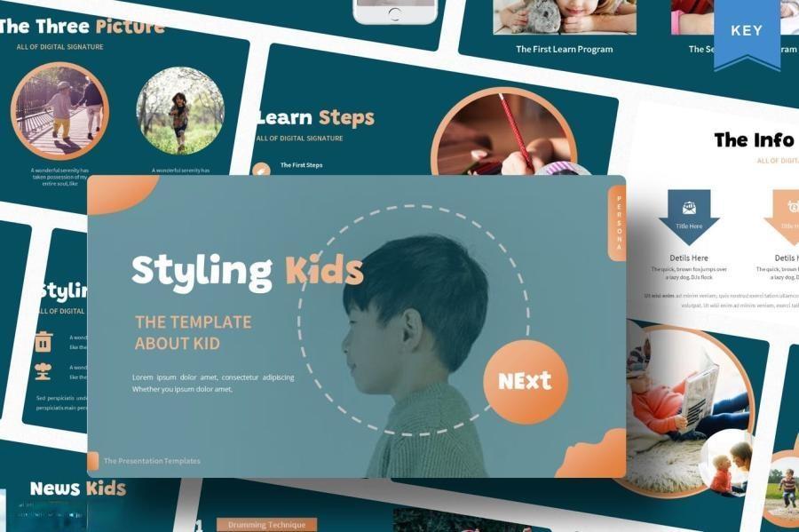 简约儿童创意造型宣传keynote演示模板