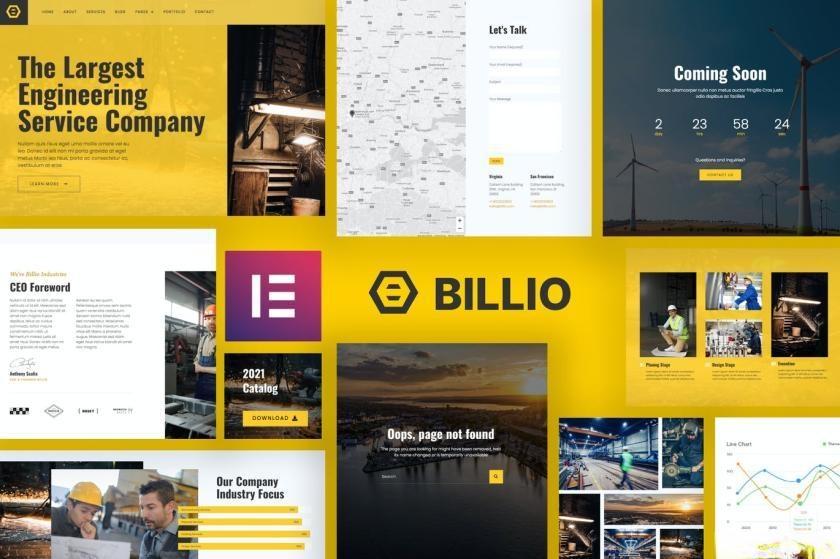 建筑工程公司网站模板WordPress主题Elementor模板