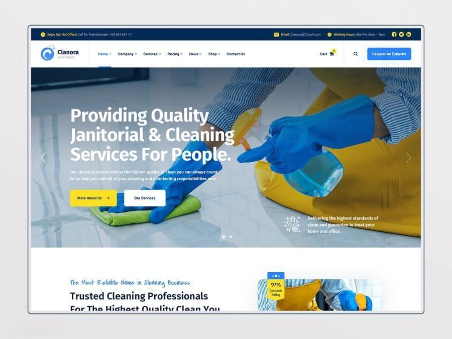 清洁防疫平台网页设计PSD模板—Clanora