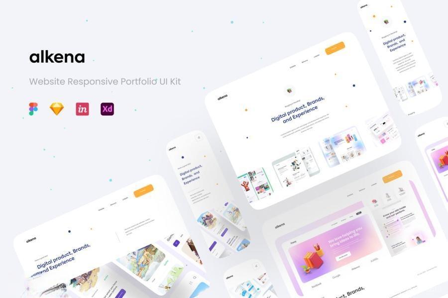 公司品牌宣传网站自适应figma/Sketch/XD设计模板——Alkena