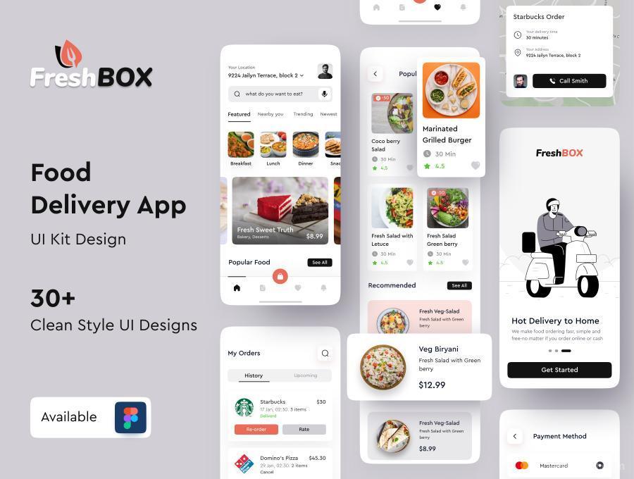 食品订单外送外卖APP UI Kit设计figma模板—FreshBox
