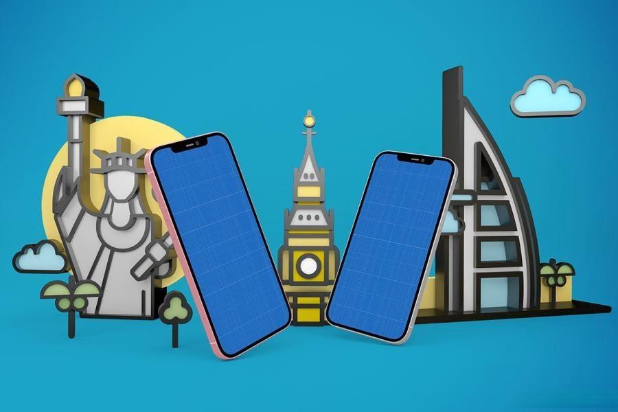 iPhone手机旅游APP样机PS样机素材插图(12)