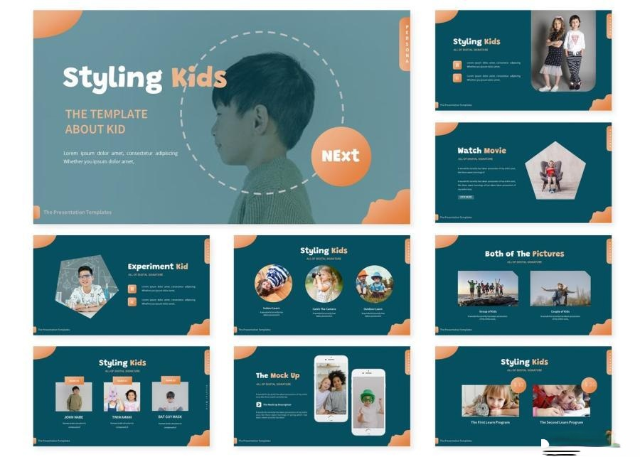 简约儿童创意造型宣传keynote演示模板插图(1)