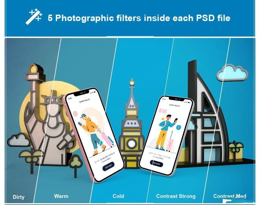 iPhone手机旅游APP样机PS样机素材插图(1)