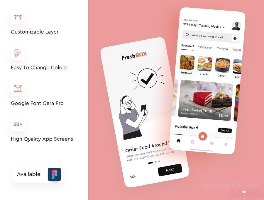 食品订单外送外卖APP UI Kit设计figma模板—FreshBox插图(5)