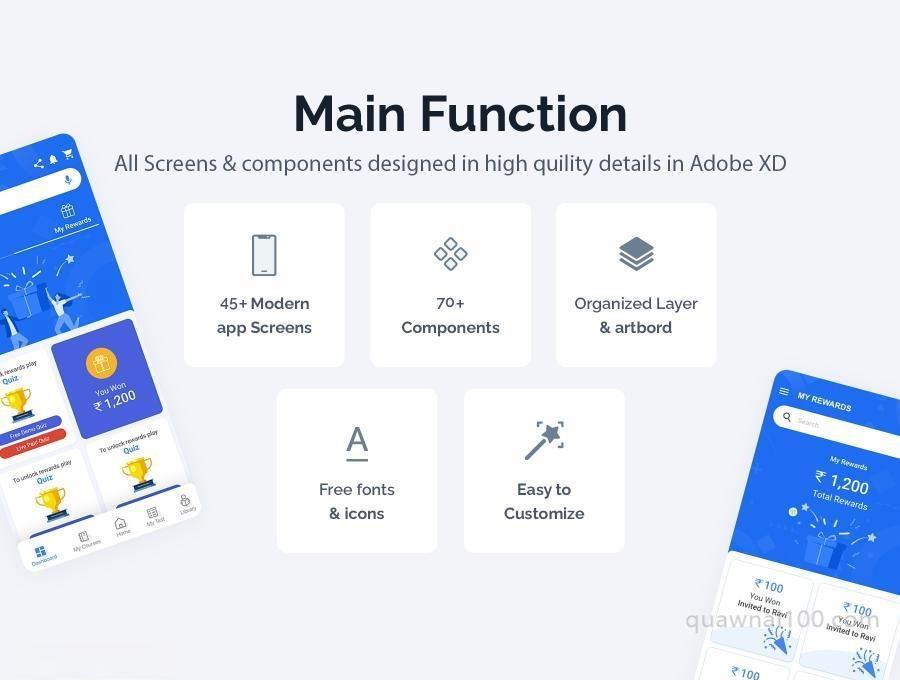在线教育学习APP UI Kit设计XD模板