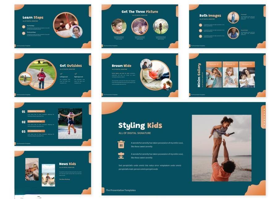 简约儿童创意造型宣传keynote演示模板插图(2)