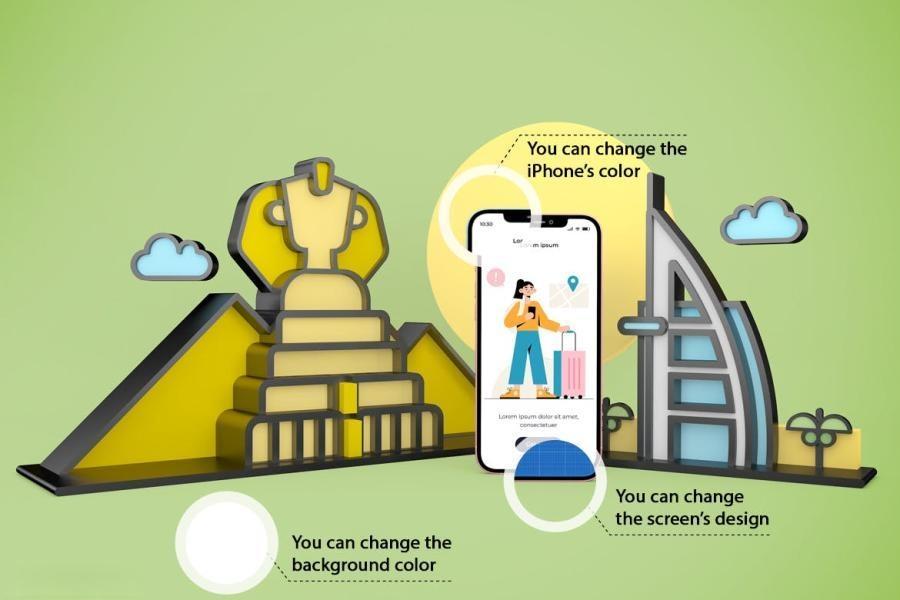 iPhone手机旅游APP样机PS样机素材插图(2)