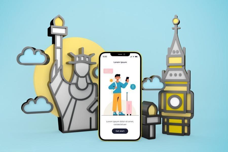 iPhone手机旅游APP样机PS样机素材插图(3)