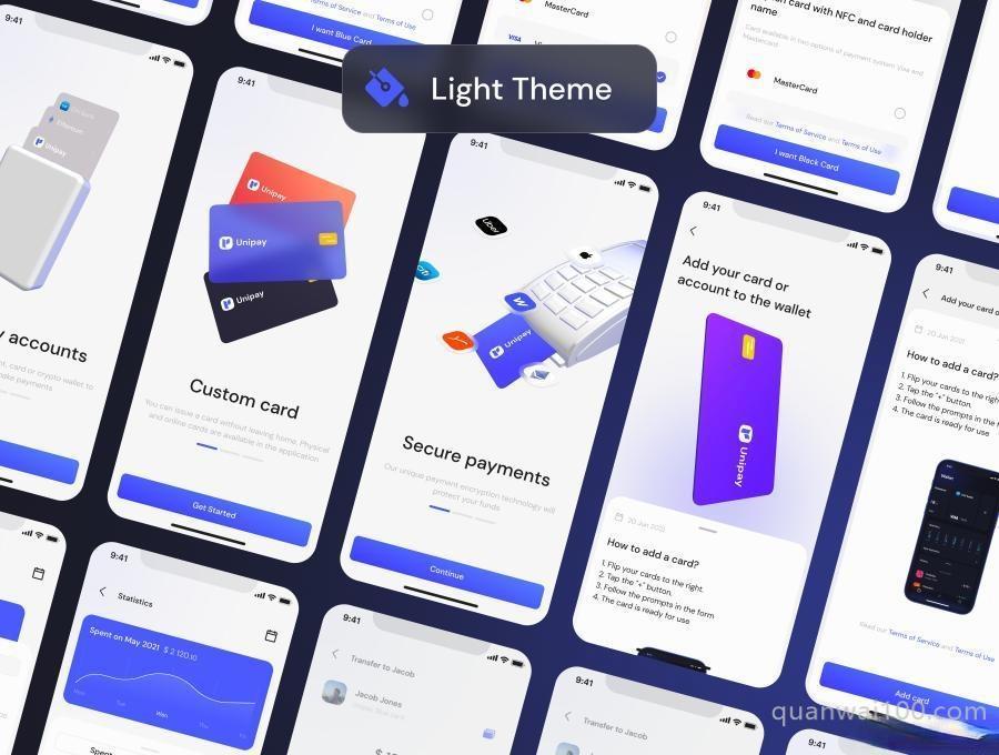 金融电子钱包iOS APP UI Kit设计Figma模板——Unipay插图(3)