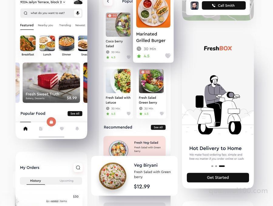 食品订单外送外卖APP UI Kit设计figma模板—FreshBox插图(3)