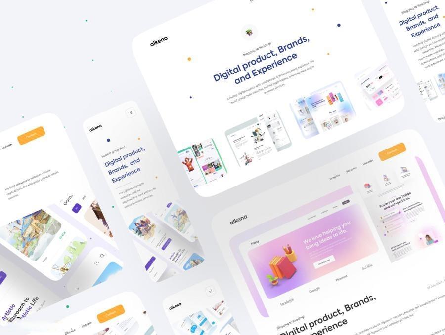 公司品牌宣传网站自适应Figma设计模板——Alkena5