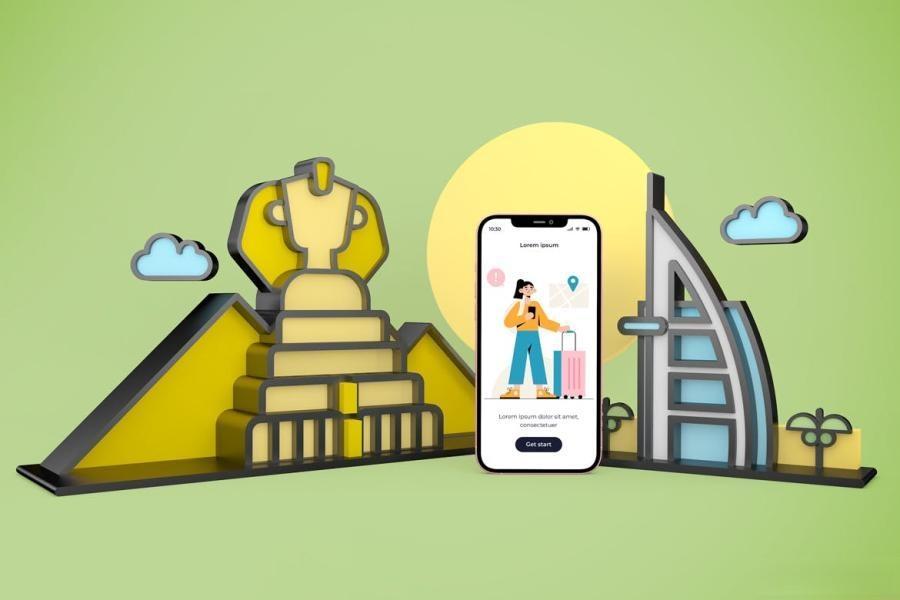 iPhone手机旅游APP样机PS样机素材插图(4)
