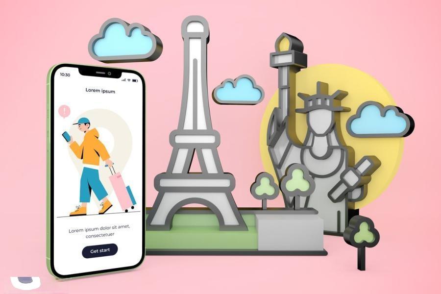 iPhone手机旅游APP样机PS样机素材插图(5)