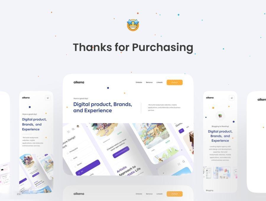 公司品牌宣传网站自适应Figma设计模板——Alkena6