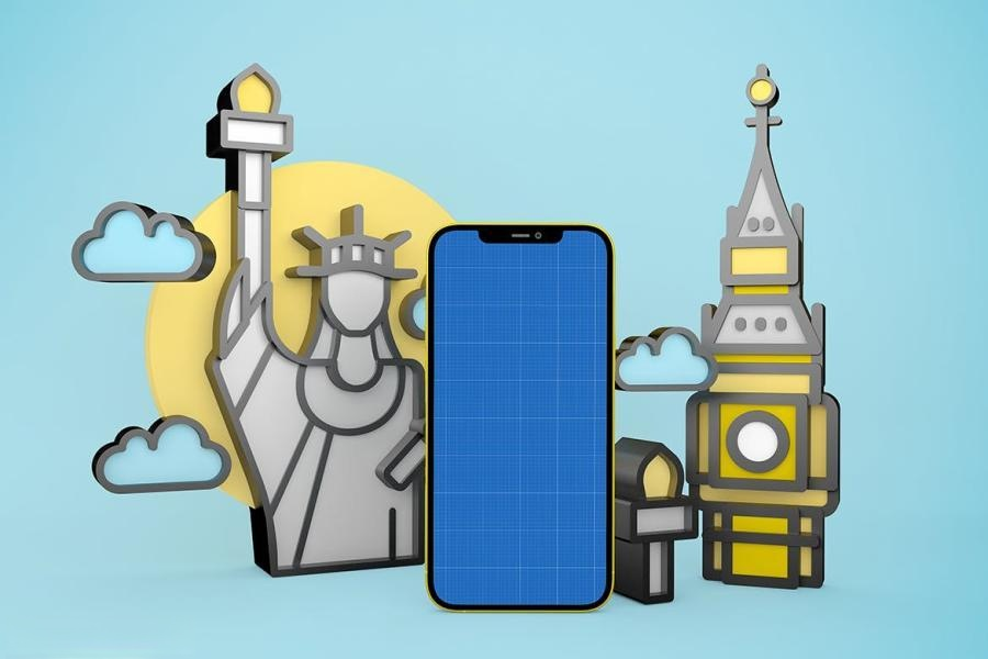 iPhone手机旅游APP样机PS样机素材插图(8)