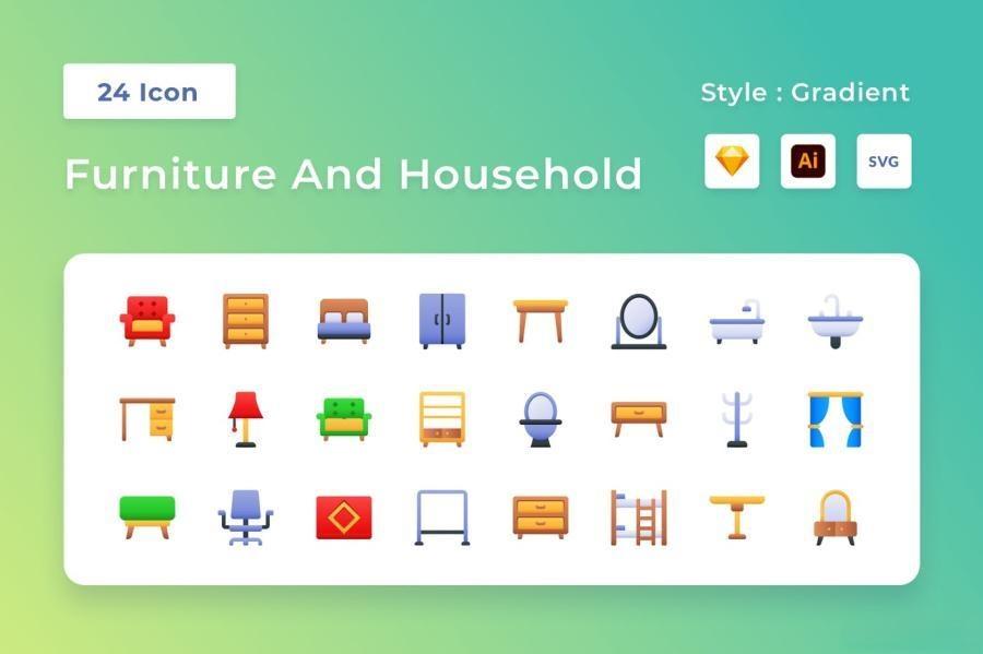 24个家具家居彩色渐变色矢量图标素材