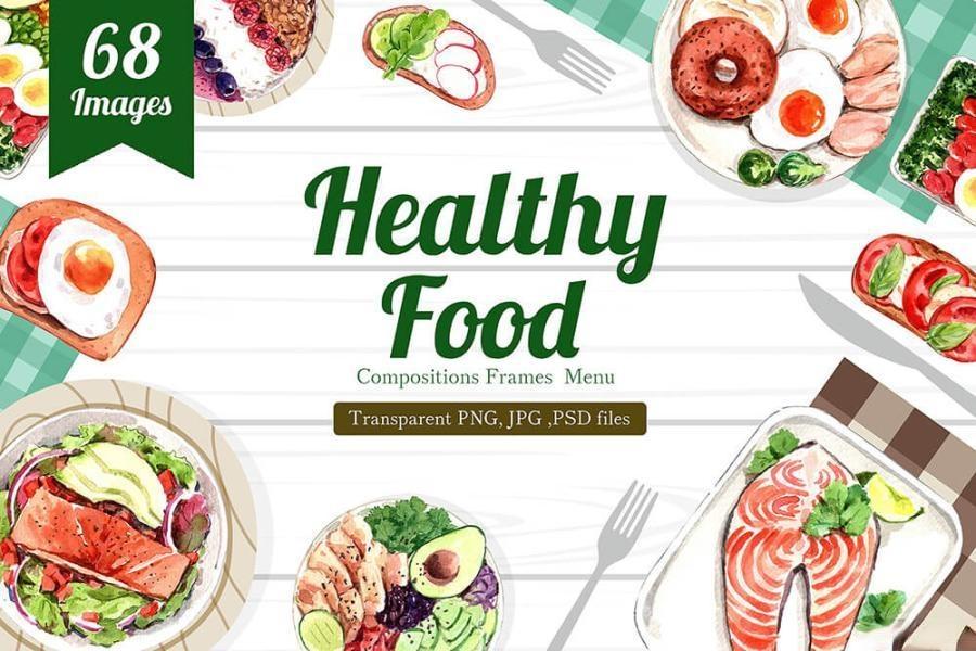 缤纷多彩的水彩手绘新鲜食物主题PNG/JPG/PSD插画素材