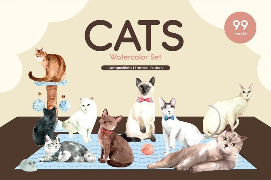 可爱风格的动物宠物猫手绘水彩PNG/JPG/PSD插画素材