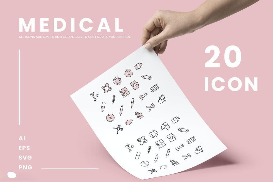 20个简洁的医疗保健主题双色和线性AI/SVG/PNG矢量格式文件图标素材