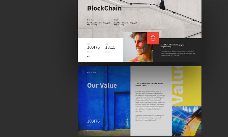 极简设计多彩的区块链的ppt和Keynote模板