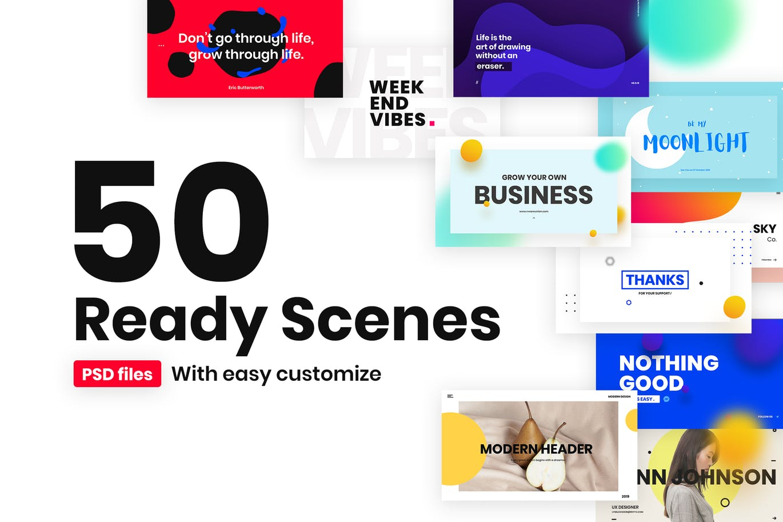 一组流行风格的多用途网页banner海报PS设计模板