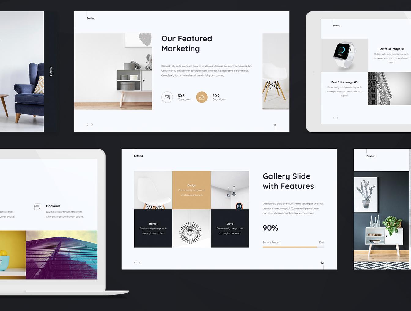 简洁设计的商务经理ppt和Keynote设计模板