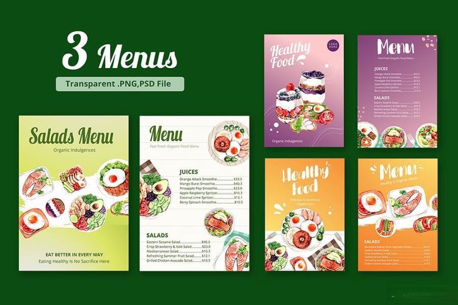 缤纷多彩的水彩手绘新鲜食物主题PNG/JPG/PSD插画素材插图(9)