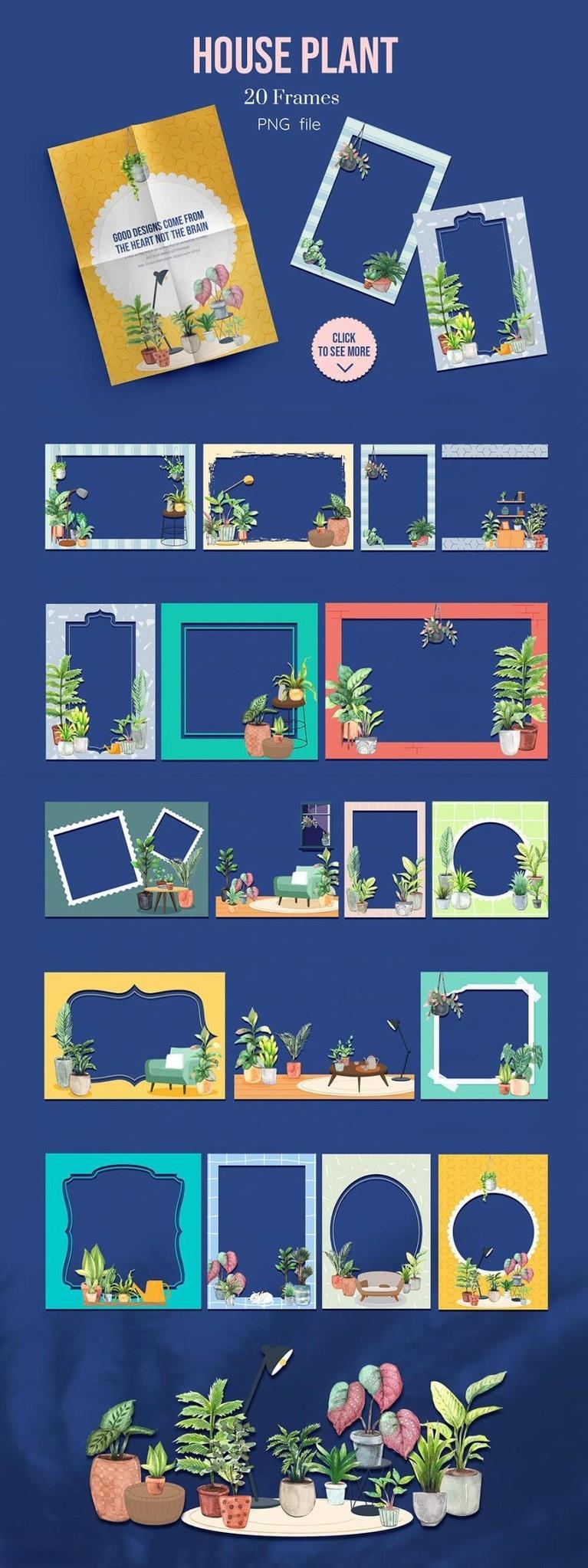 室内植物绿植花卉装饰水彩插画png插画素材插图(9)