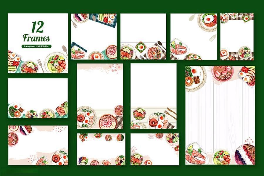 缤纷多彩的水彩手绘新鲜食物主题PNG/JPG/PSD插画素材插图(10)