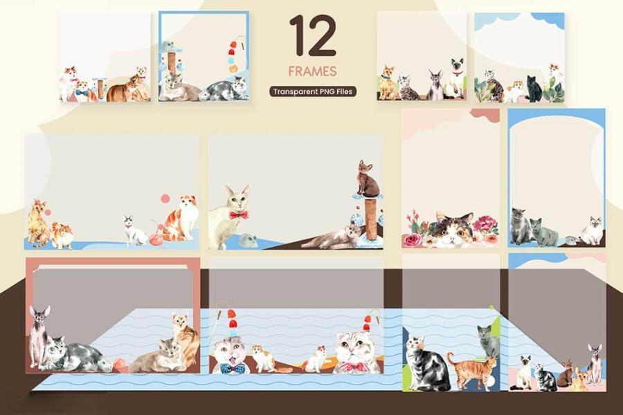 可爱风格的动物宠物猫手绘水彩PNG/JPG/PSD插画素材插图(10)