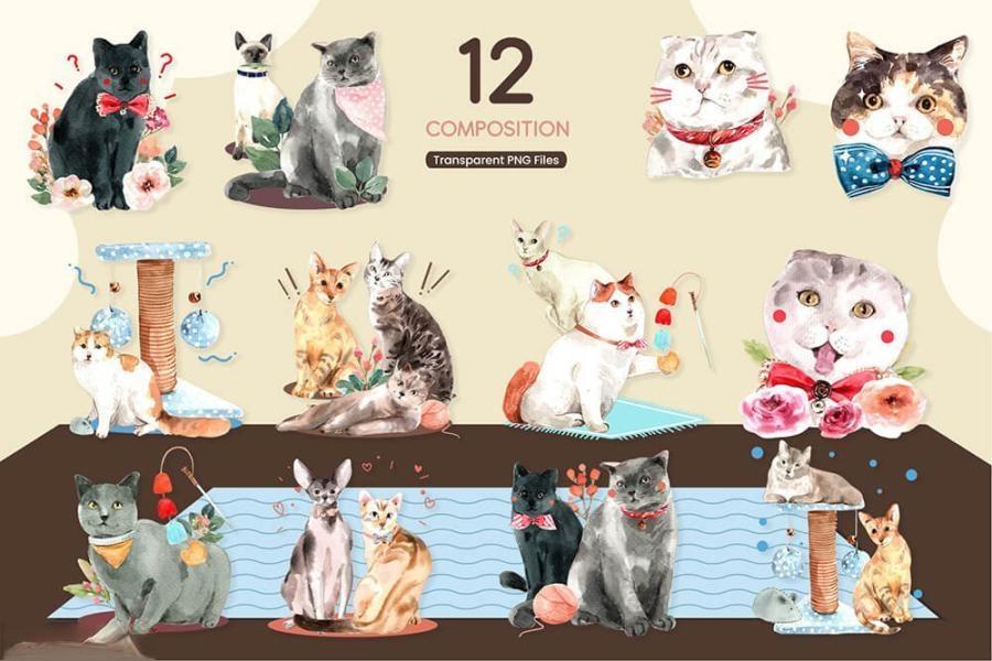 可爱风格的动物宠物猫手绘水彩PNG/JPG/PSD插画素材插图(11)