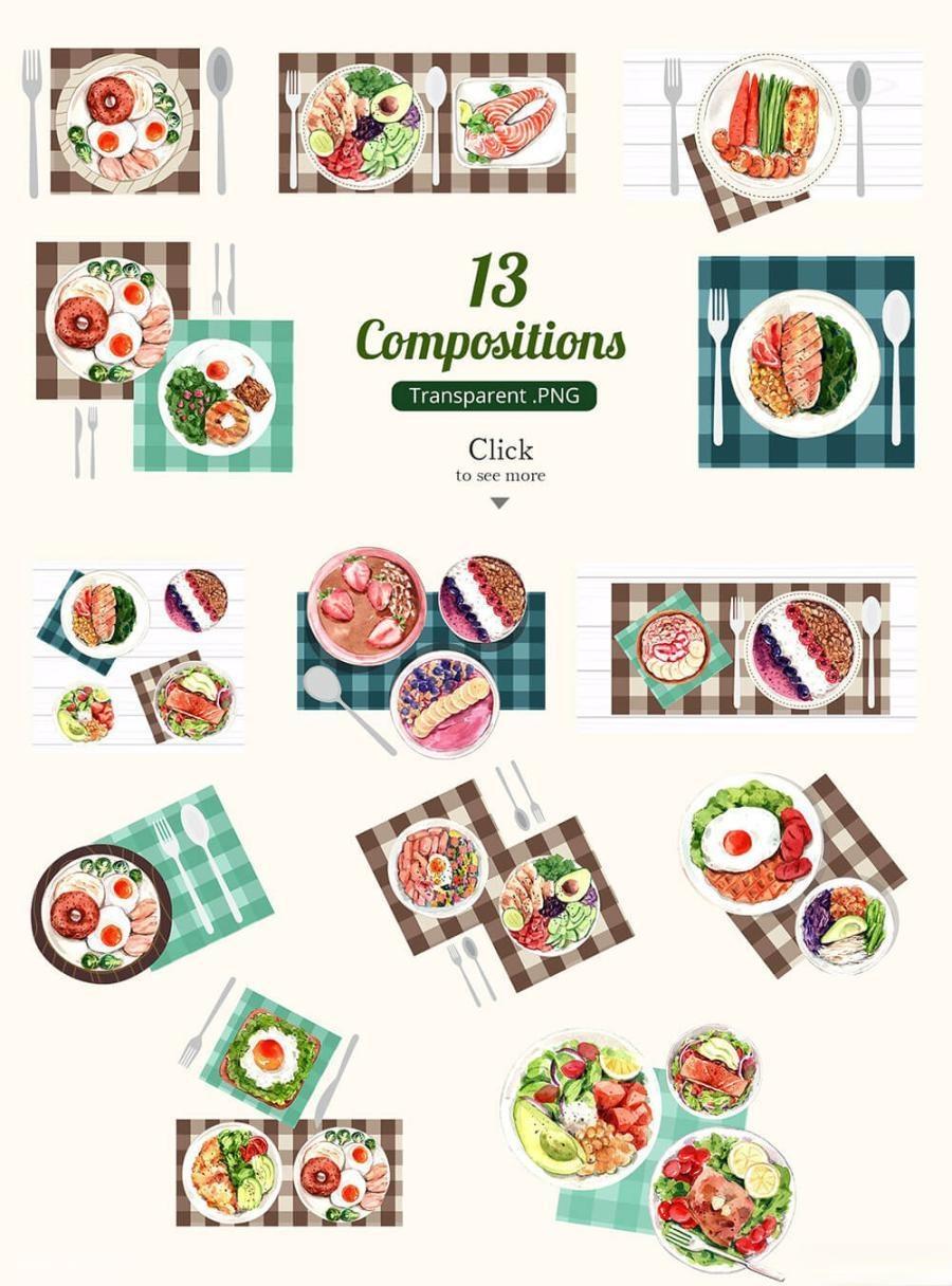 缤纷多彩的水彩手绘新鲜食物主题PNG/JPG/PSD插画素材插图(11)