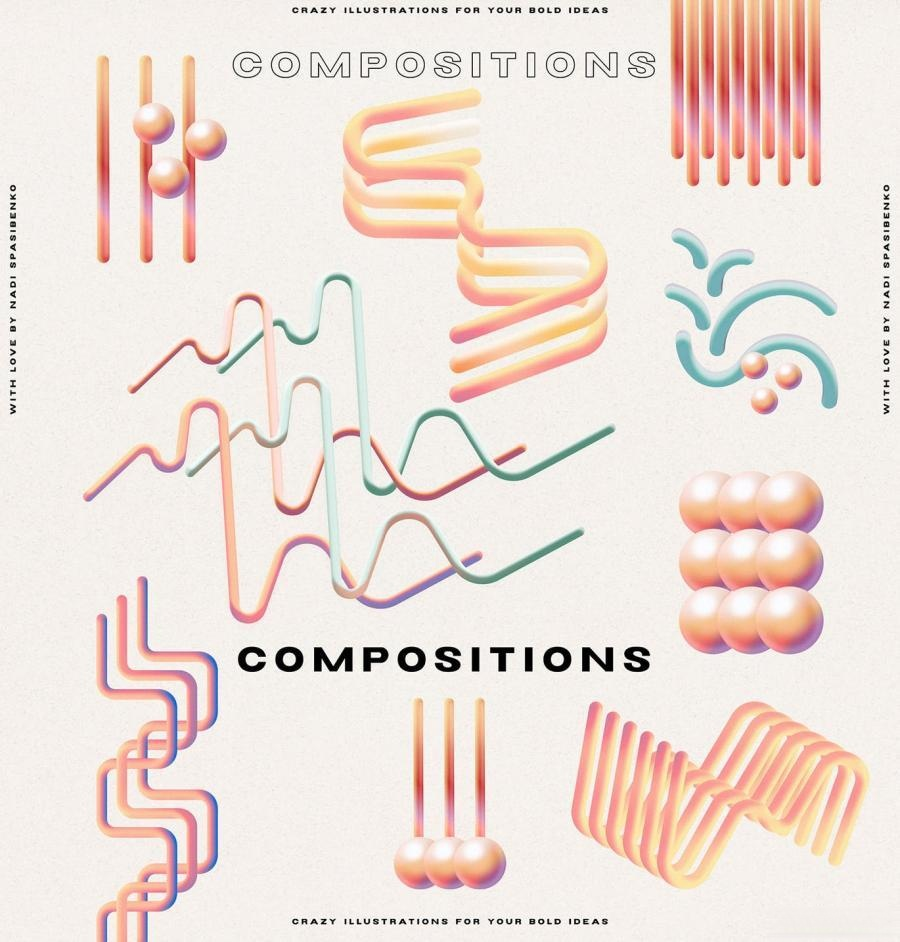以幻觉和表情符号为主题的3D渐变抽象插画元素PNG素材包插图(13)