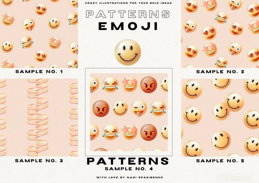 以幻觉和表情符号为主题的3D渐变抽象插画元素PNG素材包插图(1)
