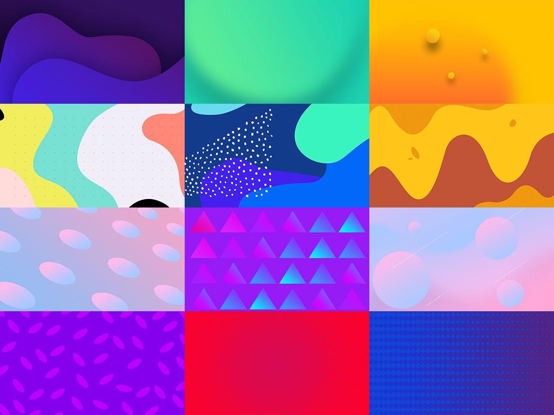 100个时尚绚丽孟菲斯风格的背景底纹纹理PS模板插图(8)