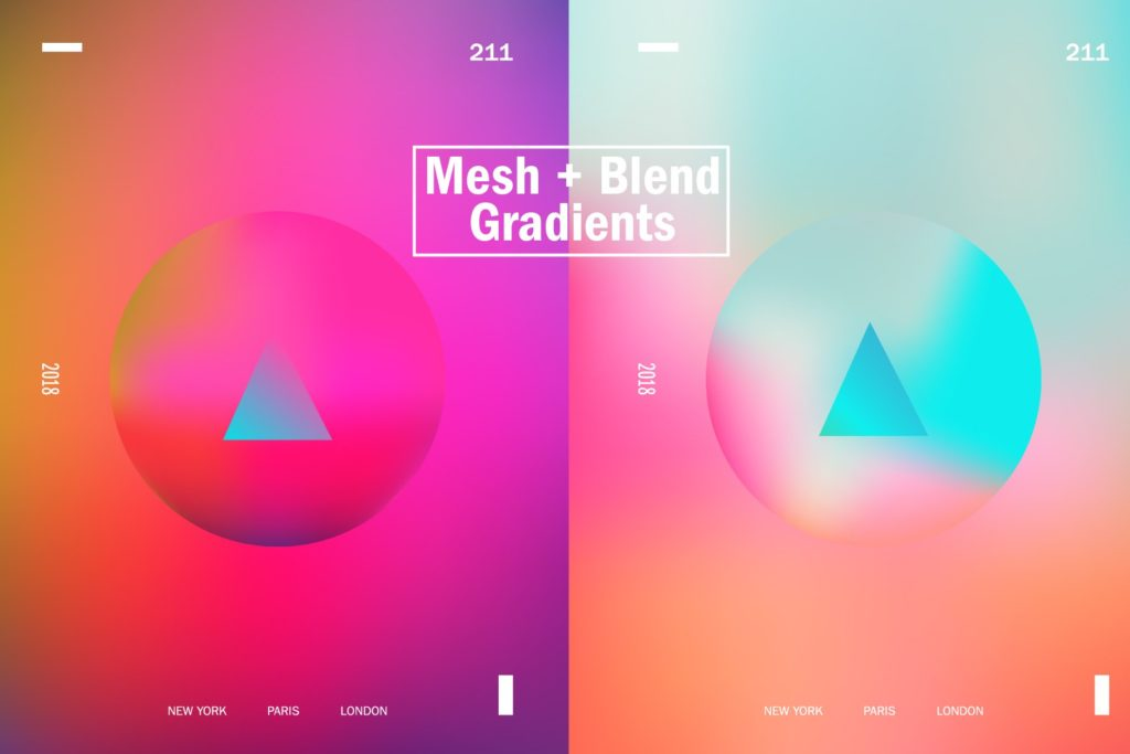 一组精美独特的渐变色平面海报AI设计模板插图(1)