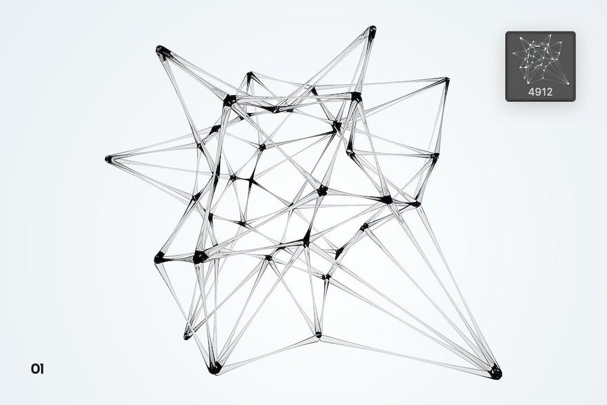 玻璃材质的神经网络状ps笔刷插件插图(2)