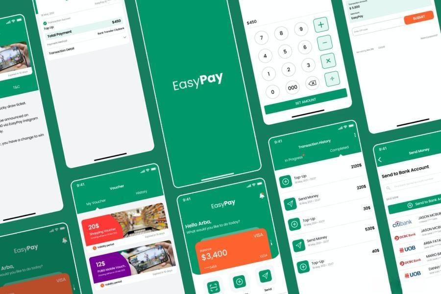 简约现代化金融支付平台主题APP UI Figma/XD设计模板——Easypay
