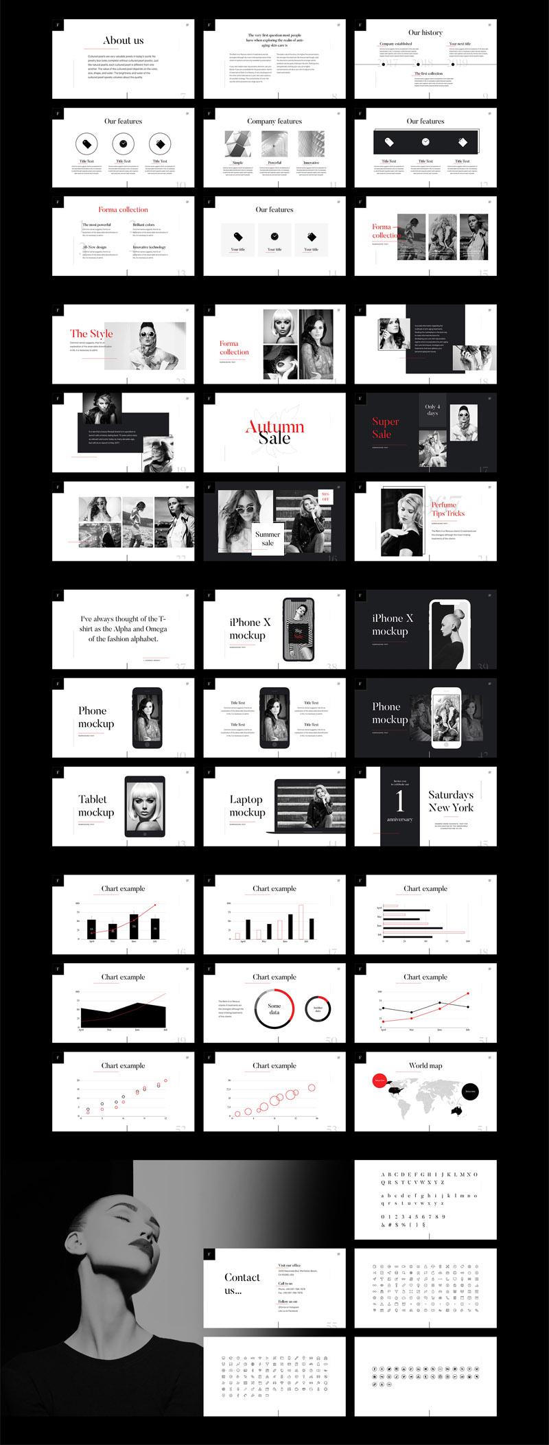 时尚和优雅的时装设计Keynote、Powerpoint和Google模板插图(1)