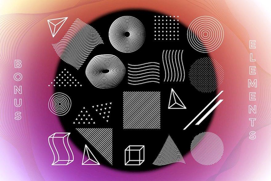 渐变色科技感海报设计模板AI设计模板插图(8)