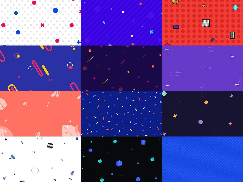 100个时尚绚丽孟菲斯风格的背景底纹纹理PS模板插图(7)