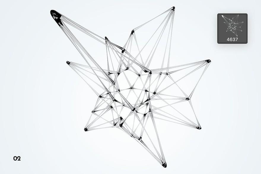 玻璃材质的神经网络状ps笔刷插件插图(3)