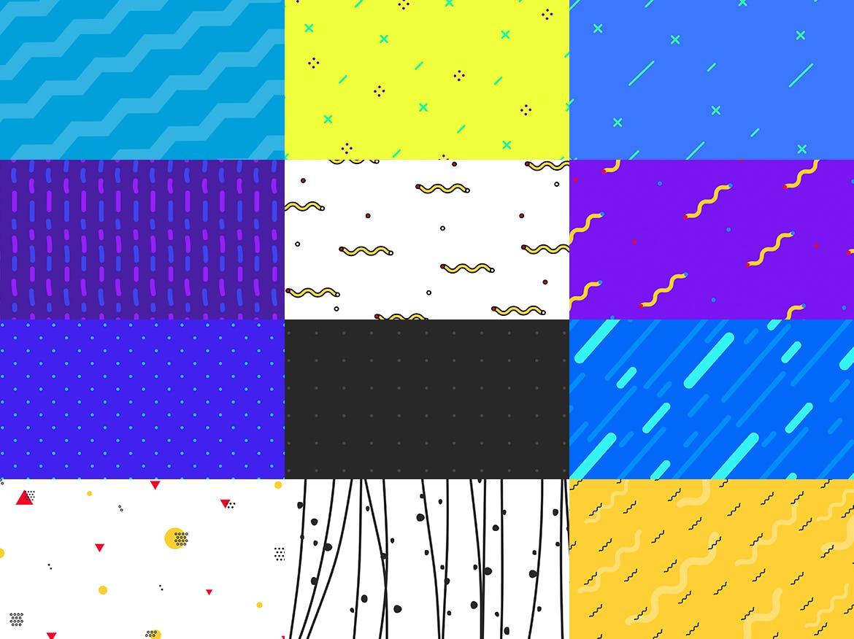 100个时尚绚丽孟菲斯风格的背景底纹纹理PS模板插图(6)