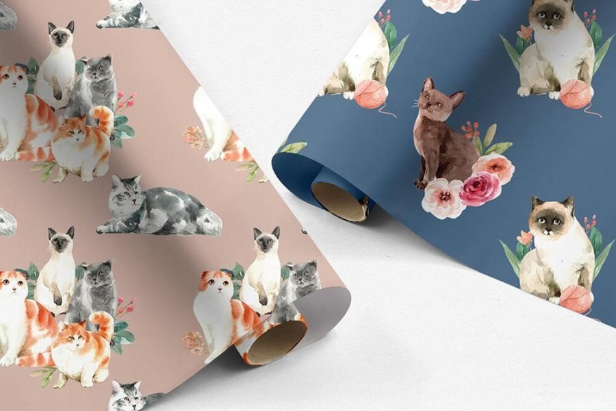 可爱风格的动物宠物猫手绘水彩PNG/JPG/PSD插画素材插图(4)