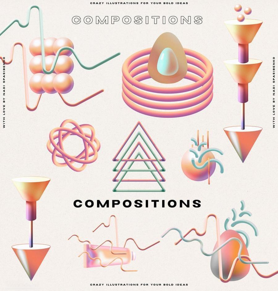 以幻觉和表情符号为主题的3D渐变抽象插画元素PNG素材包插图(4)