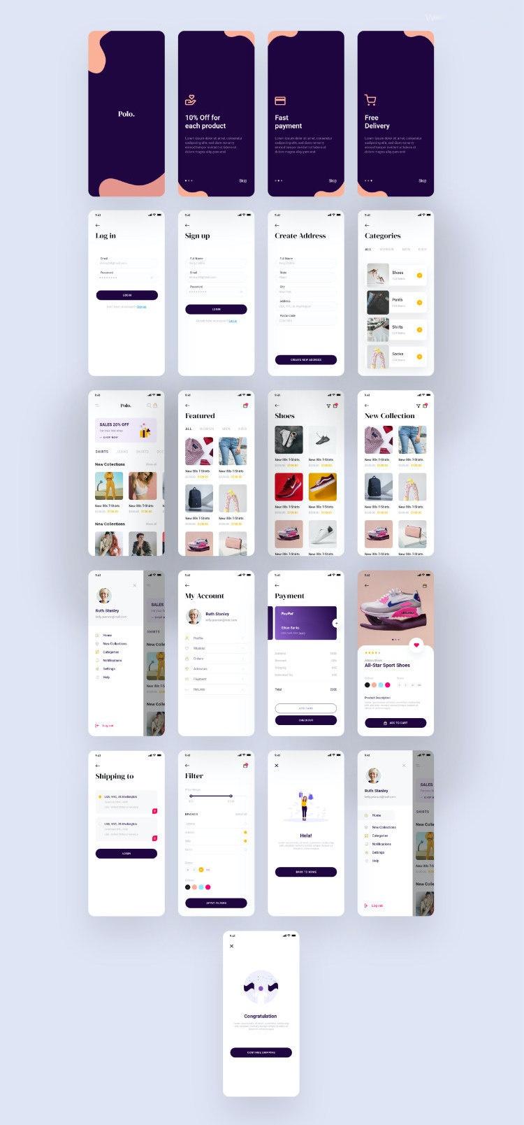 服饰电商adobe XD App UI Kit设计模板