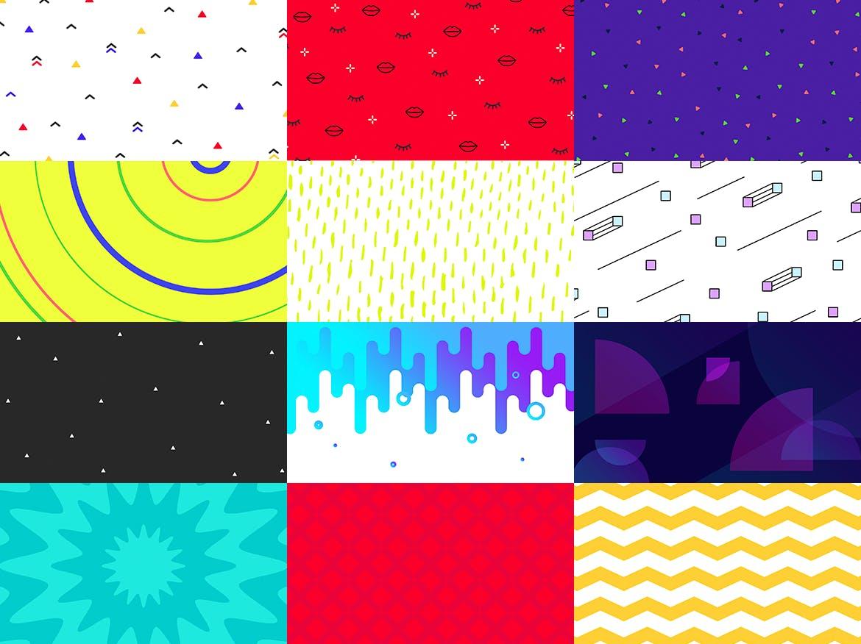 100个时尚绚丽孟菲斯风格的背景底纹纹理PS模板插图(5)