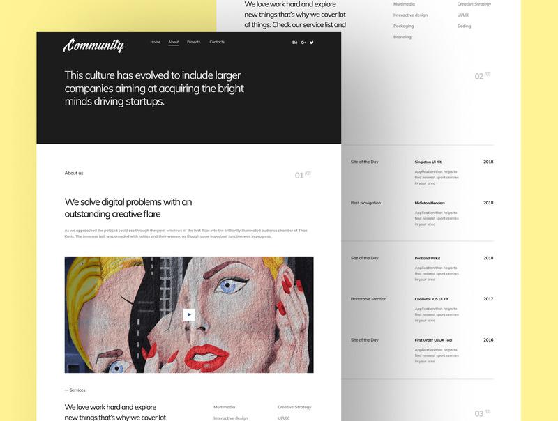 个人作品网站的前端和界面的html/Figma设计模板