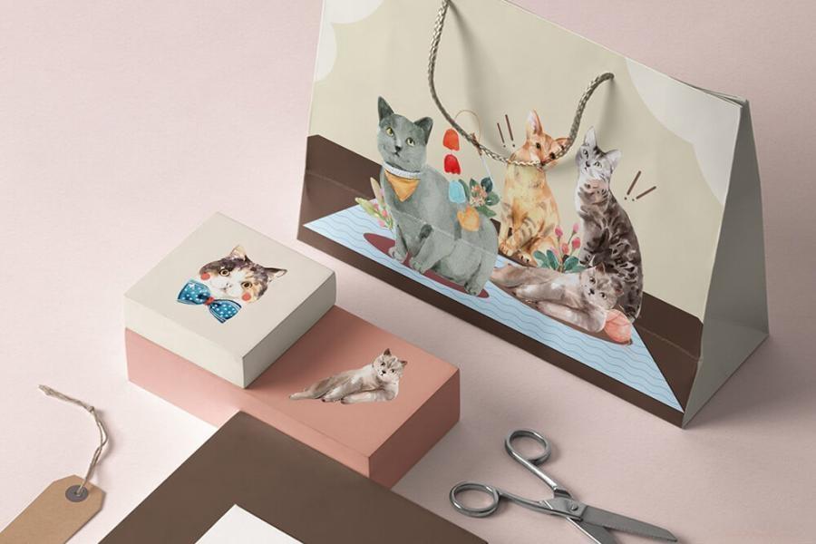 可爱风格的动物宠物猫手绘水彩PNG/JPG/PSD插画素材插图(5)